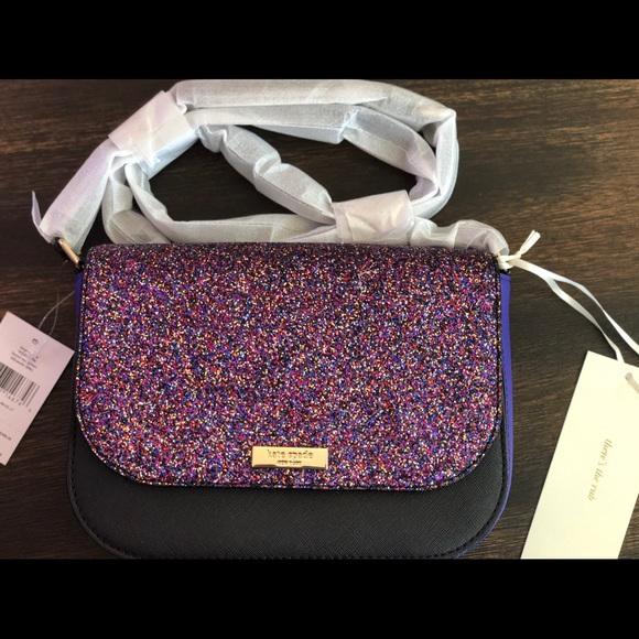 Kate Spade Laurel Way Glitter Large Carsen Crossbody Purple Black Bag WKRU4796
